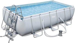 piscina desmontable rectangular bestway 404x201x100 cm liso gris